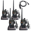 Image Entertainment - 4-Pack BaoFeng Model UV-5RE 136-174/400-480 MHz Dual Band FM Ham Two Way Radio+USB Programming Cable - Black - Black