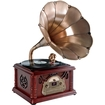 PyleHome - Classical Trumpet Horn Turntable/Phonograph w/ AM/FM Radio CD/Cassette/USB & Direct to USB Recording - Multi