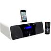 Pyle - Clock Radio - 200 W RMS - Apple Dock Interface - White - White
