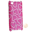 eForCity - Snap-On Case for iPod Touch 4th Generation - Pink with White Heart Bling - Pink with White Heart Bling