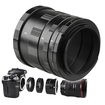 eForCity - Macro Extension Tube Set Compatible with Canon EOS EF DSLR & Canon EOS EF SLR (3 Tubes & 2 Adapters) - Black
