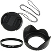eForCity - Camera lens Hood and Cap and Filter Bundle for Canon Nikon 58mm