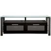 "Plateau - 50"" Flat Screen TV Stand Oak and Glass - Black - Black"