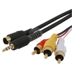 eForCity - 15 FT/4.6 M S-VIDEO + 3.5mm Audio TO 3-RCA COMPOSITE AV CABLE Compatible With LAPTOP TV - Black
