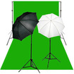 CowboyStudio - Reflective Soft Umbrella Lighting Kits, Backdrop Support,6 x9 Backdrop - Black/Silver, Chromakey Green, White - Black/Silver, Chromakey Green, White