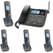 Uniden - DECT 6.0 2-line Cord/Cordless Digital Answering 4 Handset Kit - Charcoal