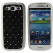 Fosmon - TPU+PC+PU+Diamond Unique Design Case for Samsung Galaxy S III - Black - Black