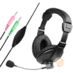 eForCity - VOIP/SKYPE Hands-free Headset with Microphone - Black - Black