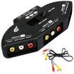 Image - 3 Way Audio Video AV RCA Switch Switcher Splitter For XBOX DVD PS3 PS2 + Cable - Black - Black