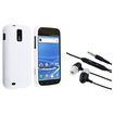 eForCity - Rubberized Hard Shell and Headset (w/on-off & Mic) Bundle For Samsung Galaxy® S II - White
