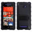 Insten - Gummy Armor Stand for HTC Windows Phone 8X - Black Gummy Armor