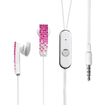 Insten - Diamante 3.5mm Hands - free Headset for iPhone 4 4G 4GS 5 5G 3G 3GS - Hot Pink, White