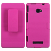 Insten - Rubberized Hybrid Holster for HTC Windows Phone 8X - Hot Pink