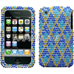 Insten - Rhombic Plaid Diamante Case Cover for iPhone 3GS/3G - Blue Rhombic Plaid Diamond