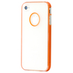 DrHotDeal - Transparent Hard PC Slim Snap On Case Back Cover Shell for iPhone 4 4G 4S - Clear with Orange Double Stripes
