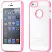 DrHotDeal - Transparent Matte Hard PC Case Back Cover w/ Double Stripes Frame for iPhone 5 - Clear with Pink Double Strip - Clear with Pink Double Strip