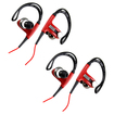 DrHotDeal - 2 pc Sports Hook Running Earphones High Quality Stereo Earphones Headset Bundle for PC MP3 MP4 iPod - Black, Red - Black, Red