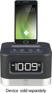 iHome - Space Saver FM Stereo Alarm Clock Radio for Android Mobile Phones - Black/Silver - Black/Silver