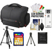 Sony - LCS-SC21 Soft Digital SLR Camera Carrying Case with 32GB SD Card + Tripod + Accessory Kit