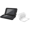 eForCity - Jelly Silicone Case and Game Card Case 24-in-1 Bundle For Nintendo 3DS XL - Black/White