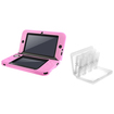 eForCity - Jelly Silicone Case and Game Card Case 24-in-1 Bundle For Nintendo 3DS XL-White/Pink