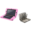 eForCity - Jelly Silicone Case and Game Card Case 24-in-1 Bundle For Nintendo 3DS XL - Smoke/Pink