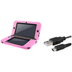 eForCity - Jelly Silicone Case and USB Charging Cable Bundle For Nintendo 3DS XL - Pink
