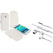 eForCity - Leather Case with Flap and Stereo Headsets Bundle for Samsung Galaxy S3 mini I8190 - White