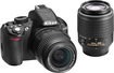 Nikon - D3100 DSLR Camera with 18-55mm and 55-200mm Lens - Black