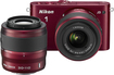 Nikon - 1 J3 Compact System Camera with 10-30mm VR and 30-110mm VR Lens - Red