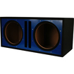 Absolute USA - PDEB12BL Dual 12-Inch 3/4-Inch Subwoofer Enclosure With Blue Face Board - Black, Blue - Black, Blue