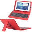 Fosmon - 7 inch Tablet Stand with Micro USB Keyboard - Leather Carrying Case - Red