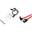 eForCity - 2.5 inch SATA HDD Enclosure and Straight to Right 18 inch SATA Data Cable - Silver