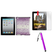 Insten - Diamante Case & Stylus & Screen Protector Bundle f/ Select iPad® Tablets - Purple Snowstorm