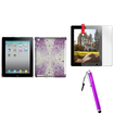 Insten - Diamante Case & Stylus & Screen Protector Bundle f/ Select iPad® Tablets - Purple Starburst