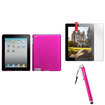 Insten - Clip-on Case and Stylus and Screen Protector Bundle for Select iPad® Tablets - Hot Pink