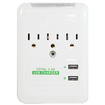 RND Power Solutions - Wall Power Station includes 3 AC Plugs and 2 USB ports (3.4A) - White