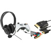 eForCity - Headset with Microphone and Audio Video Cable Bundle For Microsoft Xbox 360,Xbox 360 Slim - Black