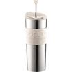 Brookstone - Travel Press Coffee Maker, Vacuum, Large, 0.45 L, 15 Oz, S/s - Off White - Off White