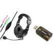 eForCity - VOIP/SKYPE Hands-free Headset with Microphone and USB Sound Card Adapter For PC - Black - Black