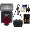 Vivitar - DF-383 Auto Flash + Gadget Bag + AA Batteries + Tripod for Nikon Digital SLR Cameras