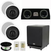 Theater Solutions - 5.1 HOME AUDIO SPEAKERS 4 SPEAKERS 1 CENTER 8 POWERED SUB AND MORE TS50CC5.1SET3