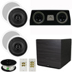 "Theater Solutions - 5.1 Home Audio Speakers 4 Speakers, 1 Center 15"" Powered Sub & More TS50CC51SET8 - white"