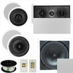 """Theater Solutions - 5.1 Home Theater 4 Speaker Set with Center, 10"""" Passive Sub More TS5C6CL51SET10 - white"""