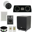 Theater Solutions - 5.25 AND 6.5 CEILING AND WALL SPEAKERS 8 POWERED SUB CENTER CHANNEL SPEAKER AND ACCESSORIES