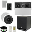 """Theater Solutions - 5.1 Home Theater 4 Speakers Set with Center, 8"""" Powered Sub & More TS5W6CL51SET3 - white"""