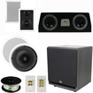"""Theater Solutions - 5.1 Home Theater 4 Speaker Set with Center, 12"""" Powered Sub & More TS5W6CC51SET7 - white"""