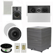 """Theater Solutions - 5.1 Home Theater 8"""" & 6.5"""" Speakers, Center, 8"""" Powered Sub & More TS6W8CL51SET2 - white"""