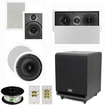 """Theater Solutions - 5.1 Home Theater 8"""" & 6.5"""" Speakers, Center, 8"""" Powered Sub & More TS6W8CL51SET3 - white"""