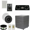 """Theater Solutions - 5.1 Home Theater 8"""" & 6.5"""" Speakers, Center, 8"""" Powered Sub & More TS6W8CC51SET2 - white"""
